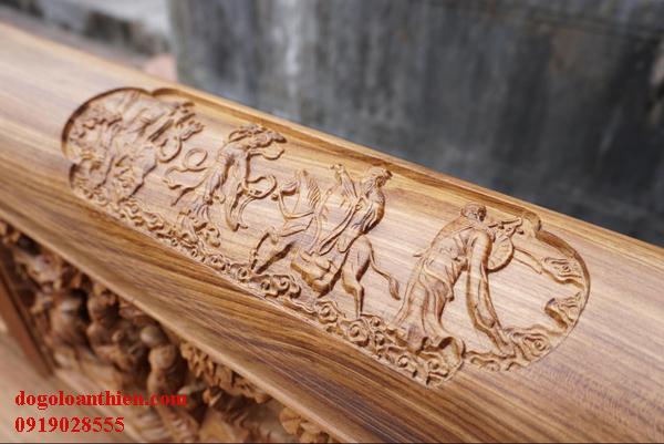 Trường kỷ gỗ gụ quảng bình tích tam quốc