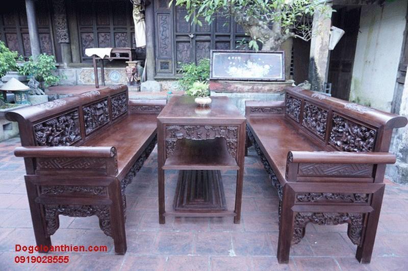 Bộ trường kỷ cổ hai ghế và một bàn